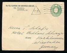 Great Britain Cover to Wiesbaden, Germany Tea Planters & Importers Co. London