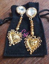 Longues boucles clips vintage couture coeur métal doré signées Christian Lacroix