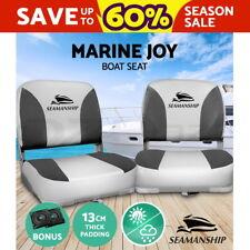 Seamanship 2X Folding Boat Seats Seat Marine Seating Set All Weather Swivel Grey