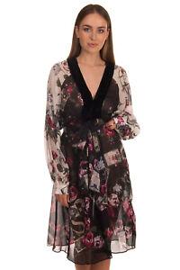 RRP €1595 ROBERTO CAVALLI Silk Shift Dress Size 48 / XXL Floral Tarot Card Print