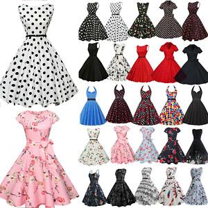 Women Vintage Hepburn Rockabilly Polka Dot Mini Dress Evening Party Swing Dress