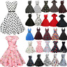 50s 60s Rockabilly Vintage Retro Polka Dot Womens Housewife Swing Skater Dress