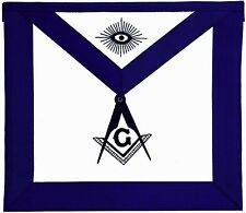 Blue Lodge Chain Collar Master Mason Apron with Square Compass