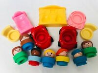 Fisher Price Chunky Little People Toy Set Figures Vintage Toys Chairs Cars Bed