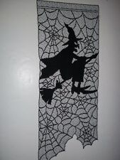 LACE WALL HANGING BLACK SHEER WITCH HALLOWEEN BROOM 30 X 11 1/2 BWHW472