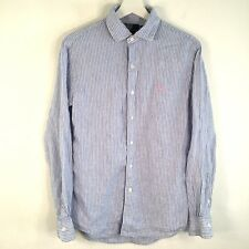Polo Ralph Lauren Medium Custom Fit Dress Shirt Blue White 100% Linen Pink Pony
