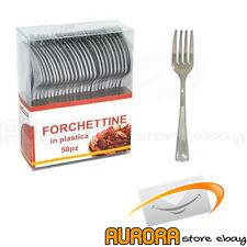 FORCHETTINE IN PLASTICA COLORE ARGENTO 10 CM CONF. 50 PZ FORCHETTE SILVER