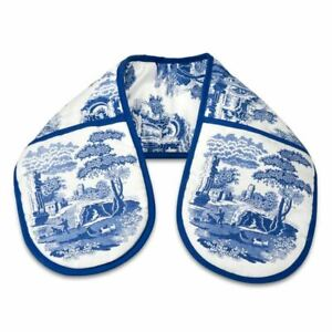 Spode by Pimpernel - Blue Italian Cotton Double Oven Gloves 18x88cm