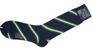 NEW Polo Ralph Lauren Wool Socks!  Navy with Green & Yellow Stripes   Japan Made
