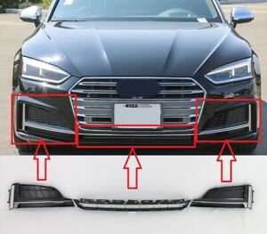 replacement 2018-19 S5 A5 front bumper lower LH RH side center grille set 3pc