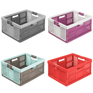Klappbox 48x34x23 cm Einkaufskorb Soft-Griffe Viele Farben 32L