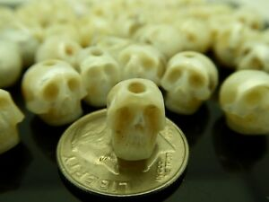 Skull Bead Natural White Pearl Rare High Detail Hand Carved 1.5mm Large Hole