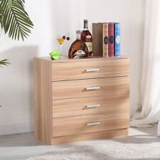High Gloss Oak Chest of 4 Drawers Cabinet Storage Cupboard Bedroom Furniture