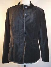 Coldwater Creek Velour Blazer Jacket Lined Size 14 Black Button Down Satin Trim