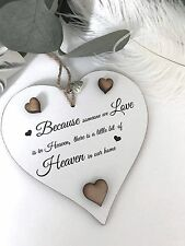 Heaven Heart Gift Shabby Chic Heart Plaque Friend Plaque Sign Bereavement S13