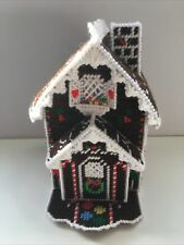 Plastic Canvas Tissue Box Cover Gingerbread House Christmas COMPLETED
