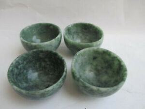 4PCS Chinese hand carved jade small bowl tea cup set TRRN