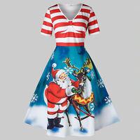 Women Plus Size Christmas Santa Claus Elk Vintage Stripe Print Swing Party Dress