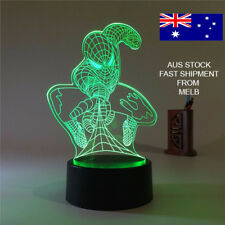 3D LED NIGHT LIGHT, SPIDERMAN MOVIE REMOTE CONTROL 7 COLOUR CHANGE GIFT DECORE!!