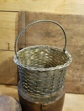 VINTAGE WOVEN METAL BASKET WITH TWISTED WIRE BASE AND HANDLE- LATER 1900'S