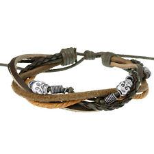 Brown Multi Strand Leather Skull Surf Bracelet For Men Adjustable