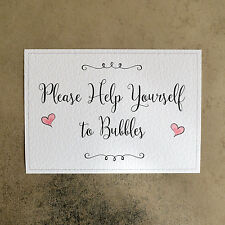 Please Help Yourself to Bubbles Wedding Sign - Pink Hearts - 260gsm Hammer Card
