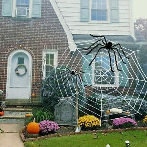 Halloween Horrible Stretchy Spider Web Haunted House White Round Cobweb Decor UK