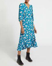 Dunnes Envoltura Vestido Talla 22 Turquesa BNWT verano BODA Floral