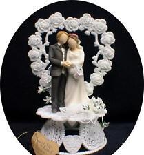 Heart to Heart Wedding Cake topper. Romantic Modern bride and groom Figurine
