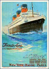 1920s Paris France French Line 4 to New York Ocean Liner Art Travel Poster Print