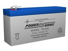 BATTERY POWER-SONIC PS-832  8V 3.2AH F1  RECHARGEABLE SEALED LEAD ACID 10  EACH