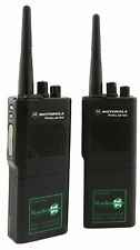 MOTOROLA GP300 VHF 5 WATT WALKIE-TALKIE TWO WAY RADIOS & G-SHAPE EARPIECES x 2