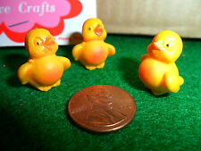 "Vintage Plastic Chick 3/4"" set of 3 Hand Painted Yellow with Orange Belly & Beck"