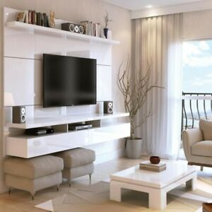 """Floating Entertainment Center Fits TVs Up to 70"""" Panel White Gloss Composite"""