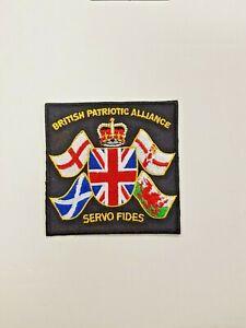 British Patriotic Alliance 'SERVO FIDES' Iron On Sew On Patch NEW