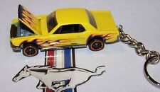 "CUSTOM MADE..1965 MUSTANG COUPE ""YELLOW/FLAMES"" KEYCHAIN..GREAT GIFT!"