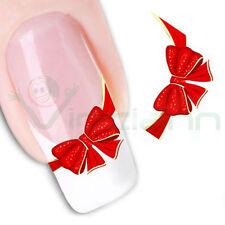 2X Adesivo sticker Fiocco nail art decorazioni unghie unghia trasferimento acqua