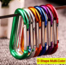 10Pcs Keychain D Shape Spring Snap Outdoor Camping Carabiner Hook Aluminum Alloy