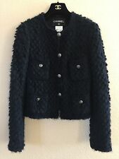 ICONIC CHANEL 08A MOST WANTED FOUR POCKET NAVY MOHAIR TWEED JACKET BLAZER 34/36