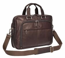Mens Genuine Leather Brown Briefcase Office Laptop Case Satchel Business Bag NEW