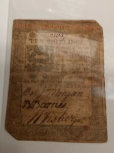 1773 Pennsly. $10.00 Colonial Currency! Cool historical note... ROUGH AND RARE!!
