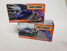 Lot of 2 Matchbox 2020 Power Grabs - 2018 Bugatti Divo & 2020 Corvette C8