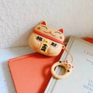 Lucky Cat Airpods Protective Case Cover Cute Lucky Charm For Gen 1 2 & Pro