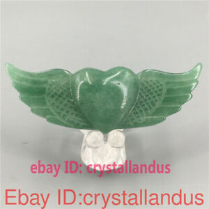 Top! Natural aventurine Angel wings carved quartz crystal heart healing 1pc