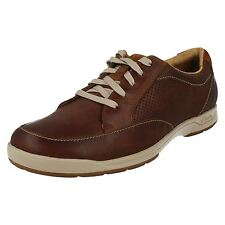 Mens Clarks Stafford Park5 Tan Leather Casual Lace Up Shoes