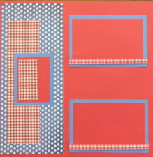 12X12 UNTITLED RED WHITE & BLUE PREMADE SCRAPBOOK PAGE LAYOUT MSND TONYA