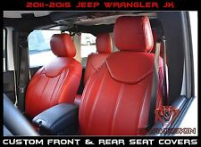 2011-2015 Jeep Wrangler JK Front & Rear Syn Seat Covers Red W/ Black Stitching