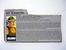 GI JOE SGT. SLAUGHTER FILE CARD Vintage Figure Triple T Driver GREAT SHAPE 1986