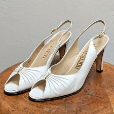 VTG 1980s BRUNO MAGLI Bologna Italy White Leather Peep-Toe Heel Shoes (Size 7.5)