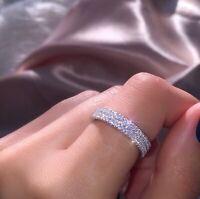 Gorgeous Women 925 Silver Rings Round Cut White Sapphire Wedding Ring Size 6-10